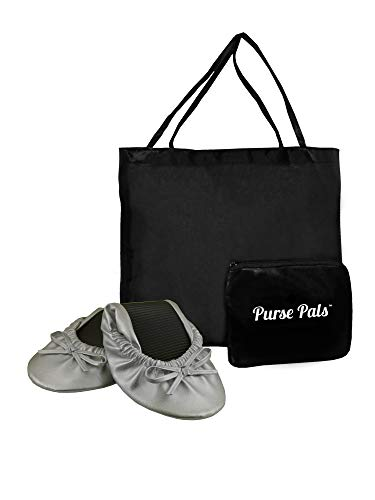 Solemates Purse Pal Foldable Bowed Ballet Flats w/Expandable Tote Bag for Carrying Heels (X-Large (11-12), Silver)