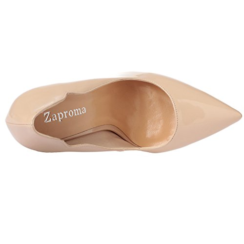 Toe ZAPROMA Stilettos Patent Sexy Point Zabsolute High Luxury Shoes Beige Comfortable Heels Women's Pumps Leather xxqgASwI