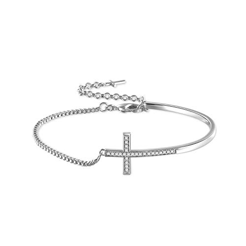 THEHORAE Adjustable White Gold Plated Bracelet, Ideal Gifts for Women, Crystal from Swarovski