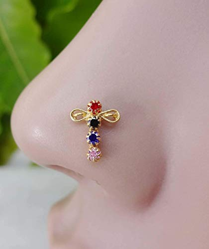 Butterfly Unique Gold Nose Stud,Gold Nose Stud,14k Yellow Gold Nose Screw,Thanksgiving Nose Gold,Nose Stud,925 Sterling Silver Nose Screw,8 MM Nose Pin,Back Screw Nose Stud,Body Jewelry(TEJ856)