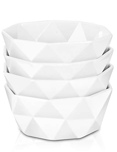 Delling 22 Oz Geometric Ultra-Strong Porcelain Bowls Set for Cereal/Soup with Stable Stack, Set of 4, White