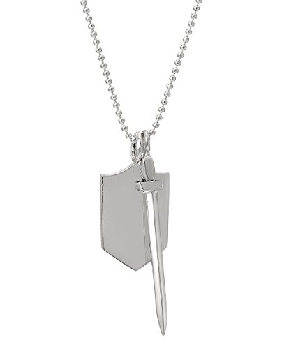 Sterling Silver Protector of Truth Sword and Shield Pendant Necklace, 18