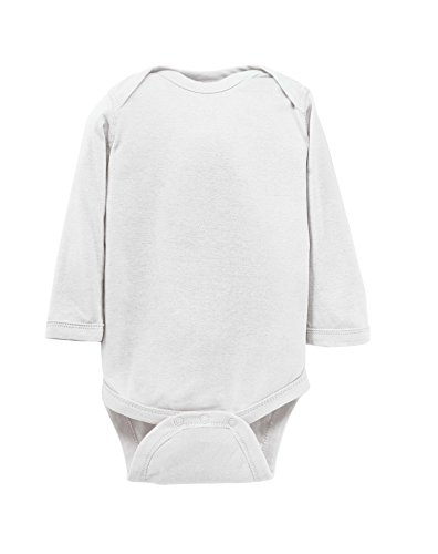 Rabbit Skins 100% Cotton Infant Baby Long Sleeve Bodysuit [Size 12 Months] White Long Sleeve Onesie
