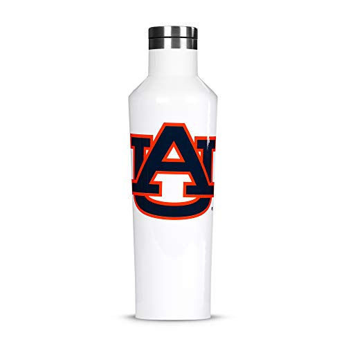 Corkcicle Canteen - 16oz NCAA Triple Insulated Stainless Steel Water Bottle, Auburn University Tigers, Big Logo ()