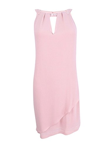 Jessica Simpson Women's Crepe Georgette Dress with Front Overlay, Blush, 4