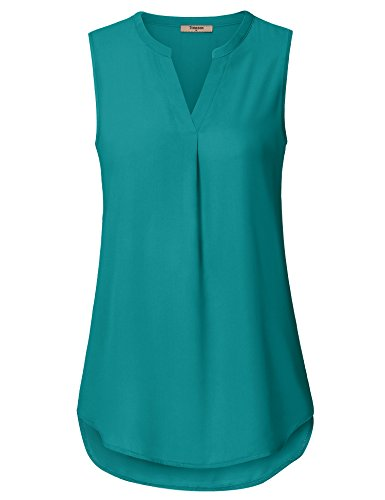Timeson Sleeveless Tops for Women, Women's Chiffon Tank Tops Long Comfy Summer Casual Business Clothes Fashion A Line Sleeveless Tunics Shirt for Junior Deep Cyan XX-Large by Timeson