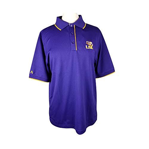 Men's LSU Purple Elite Polo Tiger Eyes Logo -