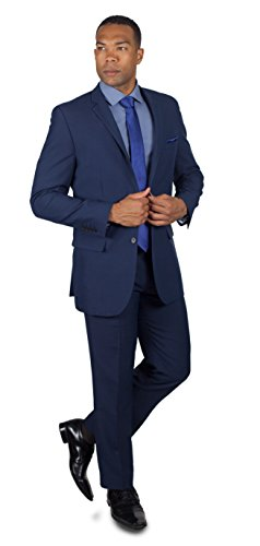 Alain Dupetit Men's Two Button Suit 42R Navy Blue