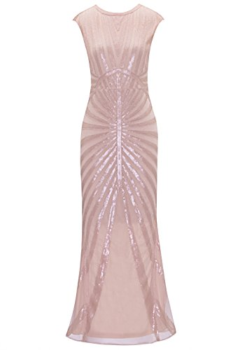 Metme Women's 1920s Vintage Sequin Long Flapper Gatsby Dress for Party (S, Light -