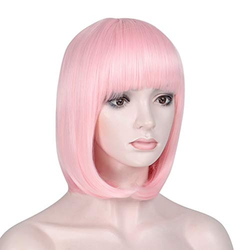 Short Bob Hair Wigs with Bangs Pink Synthetic 12