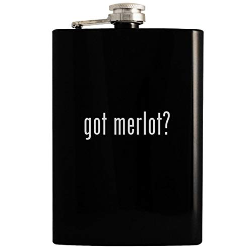 (got merlot? - 8oz Hip Drinking Alcohol Flask, Black )