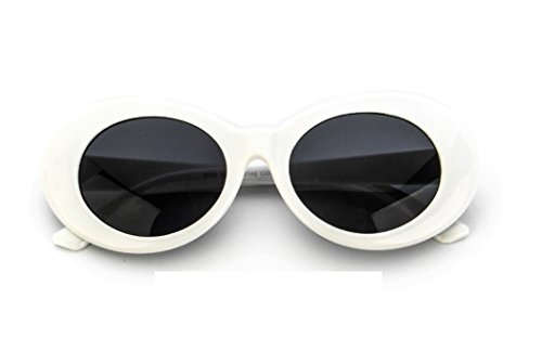 Chezi Plastic Bold Oval Frame Novelty Goggle Eye Round Sunglasses (white+grey) -
