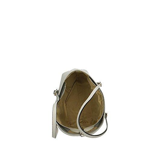 Spalla Aren da Borsa Bag 34x23x12 Vera Made Pelle Grigio in Donna Shoulder a Cm in italy qaI4w