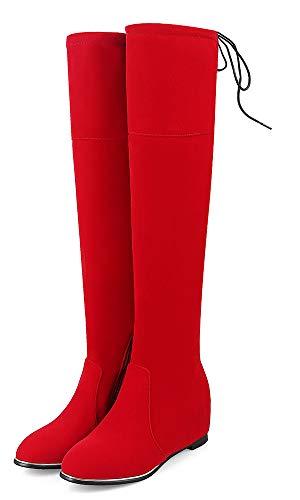 Moyen Talon Aisun Classique Avec Zip 5cm Haute Rouge Lacets Tige Femme Bottes wApgX