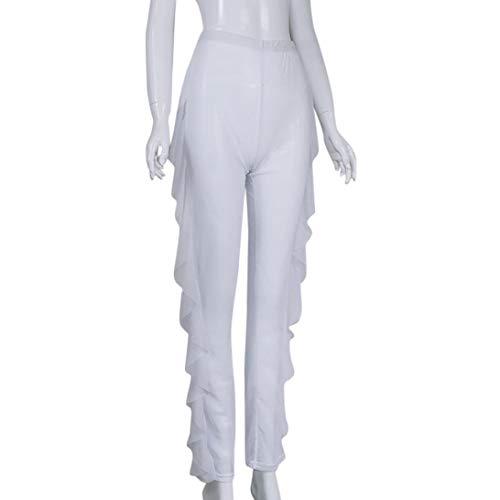 Pantalone Alta Donna Pantalone Con Dragon868 Bianca Trasparenti Volant Vita SwPOx77dqB