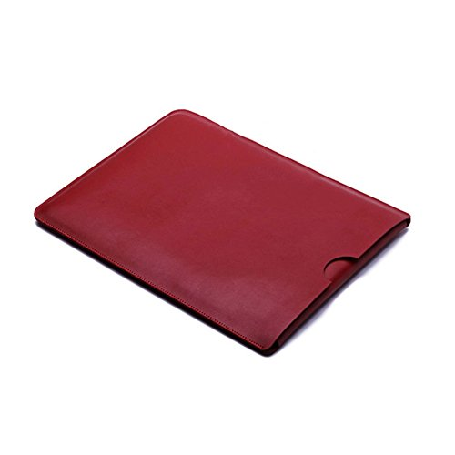 Yapshop Leather Laptop Sleeve for 14,15 Inch Apple Macbook for Computer, Notebook, Ultrabook and Tablet of similar size Red