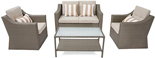 Garden and Outdoor SOLAURA Outdoor Patio Furniture Set 4-Piece Conversation Set All Weather Wicker Furniture Sofa Set with Sophisticated… patio furniture sets