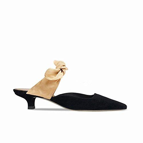 DHG Nero davvero con 39 Sandali tacco maniche pigra corte a appuntiti scarpetta senza U6UPrq