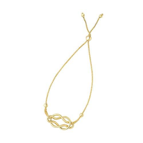 Luxurman Friendship 14K Yellow Gold Diamond Cut Round Wheat Bracelet Shiny Celtic Knot Center Element