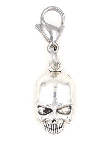 No Jaw Skull Halloween Clip on Charm ZC (Scary Halloween Zipper Face)