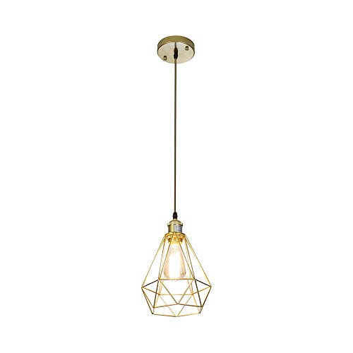 - POPILION Vintage Simple Style Polygon Adjustable Cord Hanging Ceiling Gold Pendant Light, 1-Light Pendant Lighting
