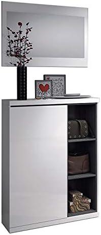 Oferta amazon: Habitdesign 0G6749BO - Recibidor zapatero + espejo, acabado Blanco Brillo y Gris Ceniza, medidas 79x108x25cm de fondo