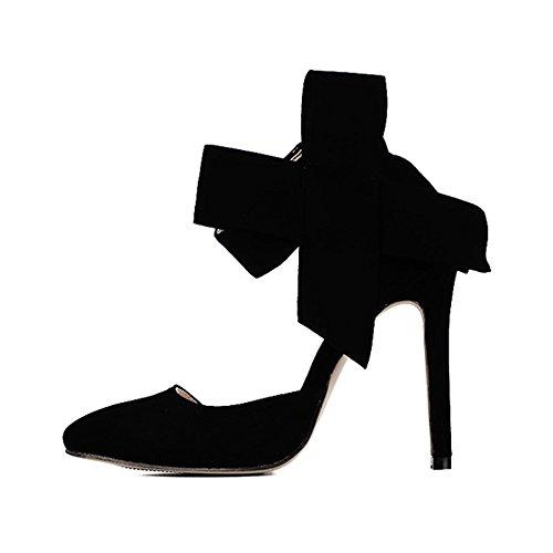 en SOIXANTE pointu femmes Escarpin Noir velours bouts à talon Chaussure aiguille TCTw7x8r