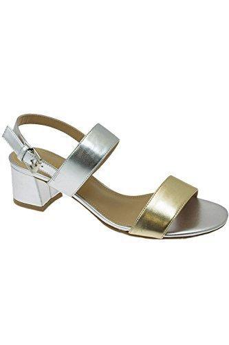 0c3182a432 JLE064 Collins Ladies Padded Block Heel Strappy Metallic Fashion Sandals  [Gold, UK 6]