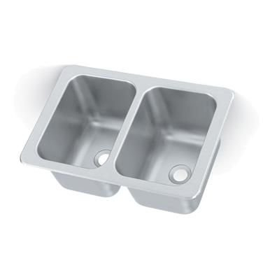 Vollrath 102-1-2 Two Compartment Drop-In Sink 10''W x 14'' Front-to-Back x 10'' Deep Compartments with 2'' Drains by Vollrath