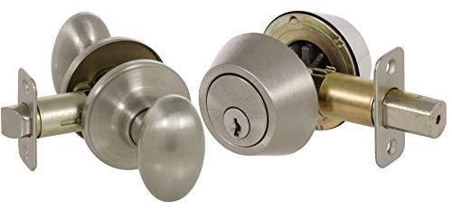 Callan KE3001 Carlyle Series Grade 3 Keyed Entry Knob & Single Cylinder Deadbolt Set, Satin Nickel