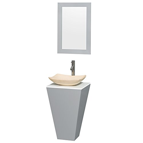 Wyndham Collection Esprit 20 inch Pedestal Bathroom Vanity in Gray, White Man-Made Stone Countertop, Arista Ivory Marble Sink, and 20 inch ()