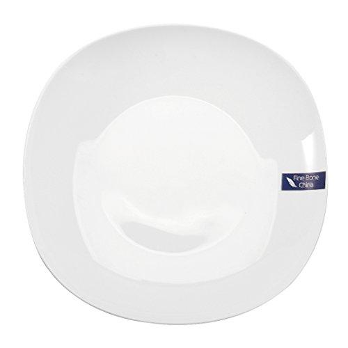 "WINCANG 8"" Fine Bone China Soup/Dinner Plate, Set of 4 - White"