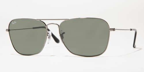 Men's Caravan Rectangular Sunglasses, GUNMETAL, 55 - Ray Caravan Ban Sunglasses