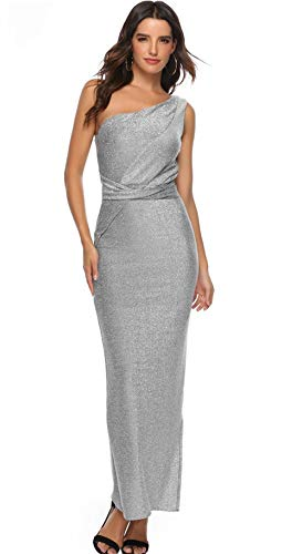 Women Mesh Sequined Overlay Poncho Dress Chiffon High Slit Maxi Pencil Dress for Evening Party (Silver, S) ()