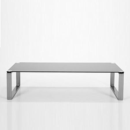 Nagano Glass Coffee Table Black Brushed Steel Frame 120 X 60 Cm