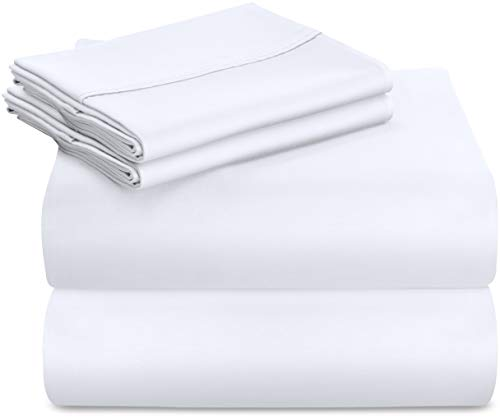 Utopia Bedding Premium 100% Cotton Bed Sheet Set 300 Thread Count - 4 Piece Bedding Set, 1 Flat Sheet, 1 Fitted Sheet and 2 Pillow Cases (Full, White)