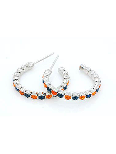 (DELUXE CRYSTAL HOOP EARRINGS - SUPER LIGHTWEIGHT - NAVY AND ORANGE)