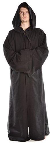 HEMAD Manteau médiéval Long Tankanis – Authentique – Coton – Noir
