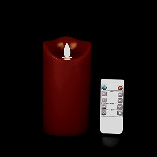 """Kitch Aroma Red Flameless Candles 3.15""""x6"""" Burgundy Color Dripless Real Wax Pillars LED Candles with 10-Key Remote Control 2/4/6/8 Hours Timer"""