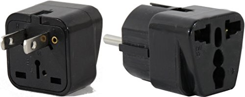 PERU Travel Adapter Plug for USA/Universal to South America Type A & E (C/F) AC Power Plugs Pack of 2 by Plug in Solutions