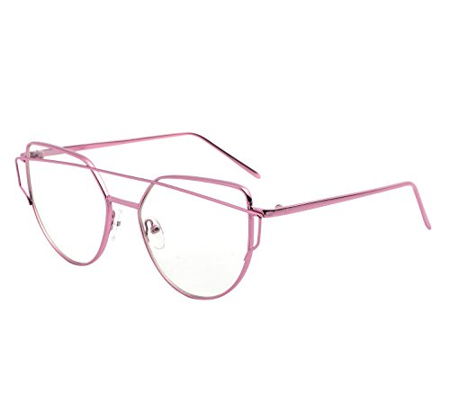 YANQIUYU New Fashion Cute Fake Cat Eye Clear Lens  Glasses Non Prescription Eyeglass Frames for Women (Clear Lens/Pink, - Prescription Glasses Amazon Fashion Non