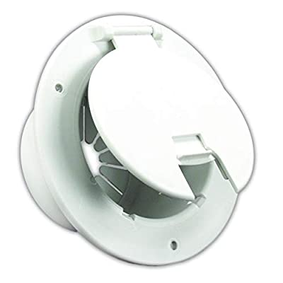 JR Products 541-2-A Polar White Deluxe Round Electric Cable Hatch with Back: Automotive [5Bkhe0808756]