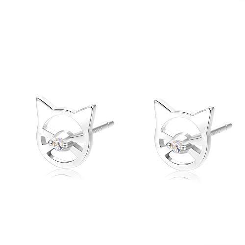 Embolden Jewelry Cat Earrings [.925 Sterling Silver Studs] - Dainty Minimalist Design - Gift to Kitty Lovers, Cat Moms, Women, Teens, Girls