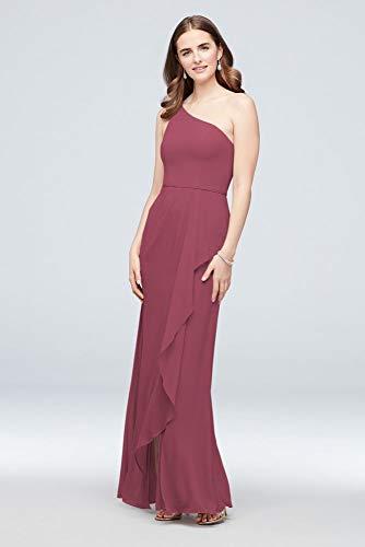 One-Shoulder Chiffon Bridesmaid Dress with Cascade Style F20011, Chianti, 18
