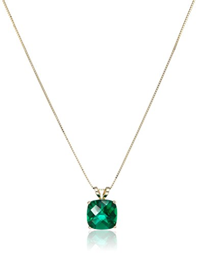 14k Gold Cushion Checkerboard Cut Gemstone Pendant Necklace (8mm)