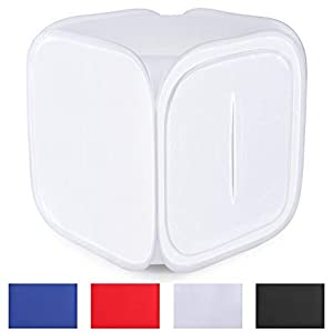 Osaka 60x60 cm Portable Photo Studio Shooting Tent Light Cube Diffusion Soft Box Kit with 4 Colors Backdrops (Red Blue Black White Matte) for Photography