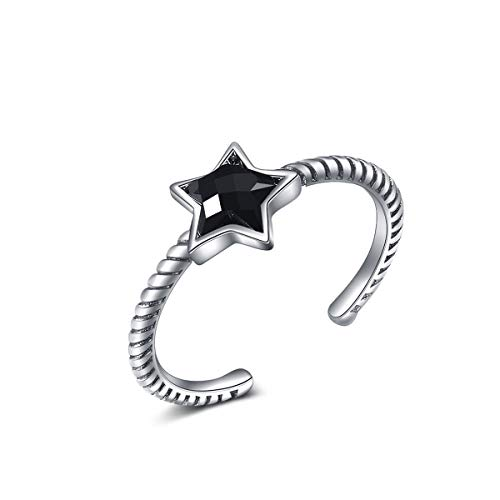 Mei Show Vintage Black Star CZ Twisted Open Ring Braided Celtic Love Knot 925 Sterling Silver Toe Ring Adjustable for Women Girls
