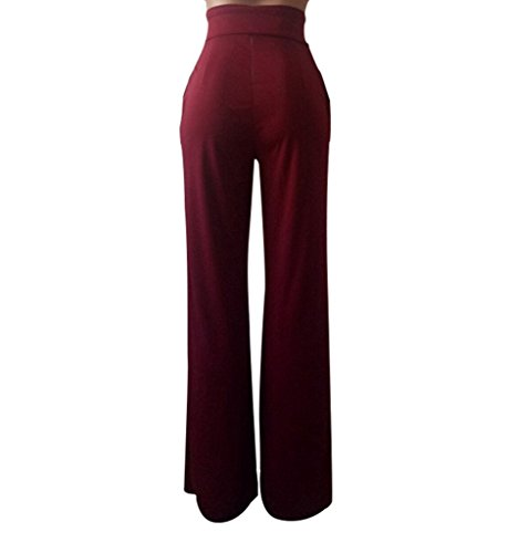 GUOLEZEEV Women Long Pants Elegant Bandage High Waisted Flare Palazzo Trousers Wine Red L by GUOLEZEEV (Image #3)