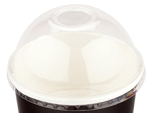 200-CT Disposable Clear Dome Lid for 5-OZ Coppetta Medium Hot and Cold To Go Cups: Perfect for Cafes – Eco-Friendly Recyclable Plastic Lid – Restaurantware