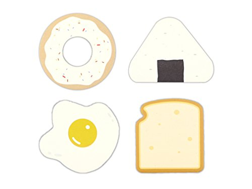 Doughnut, Onigiri, Egg, Toast Shaped Self-Stick Notes, Scratch Pads, 4 Pads/Pack, 30 Sheets/Pad (Breakfast)